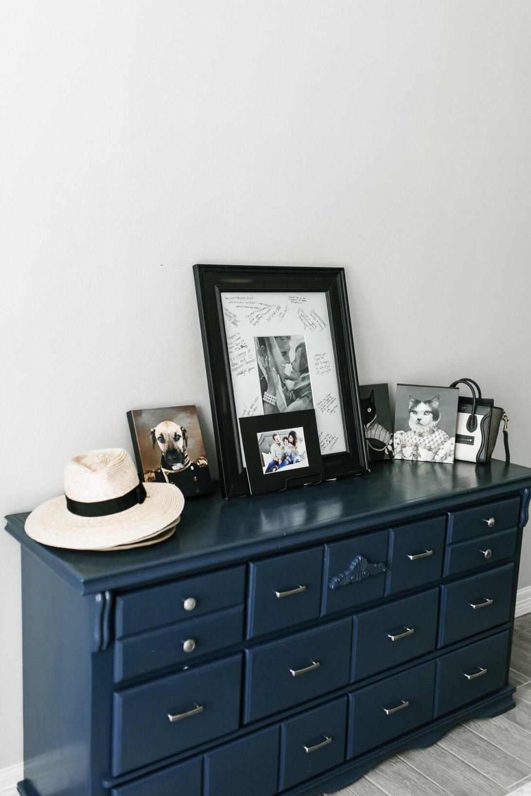 blue dresser, master bedroom