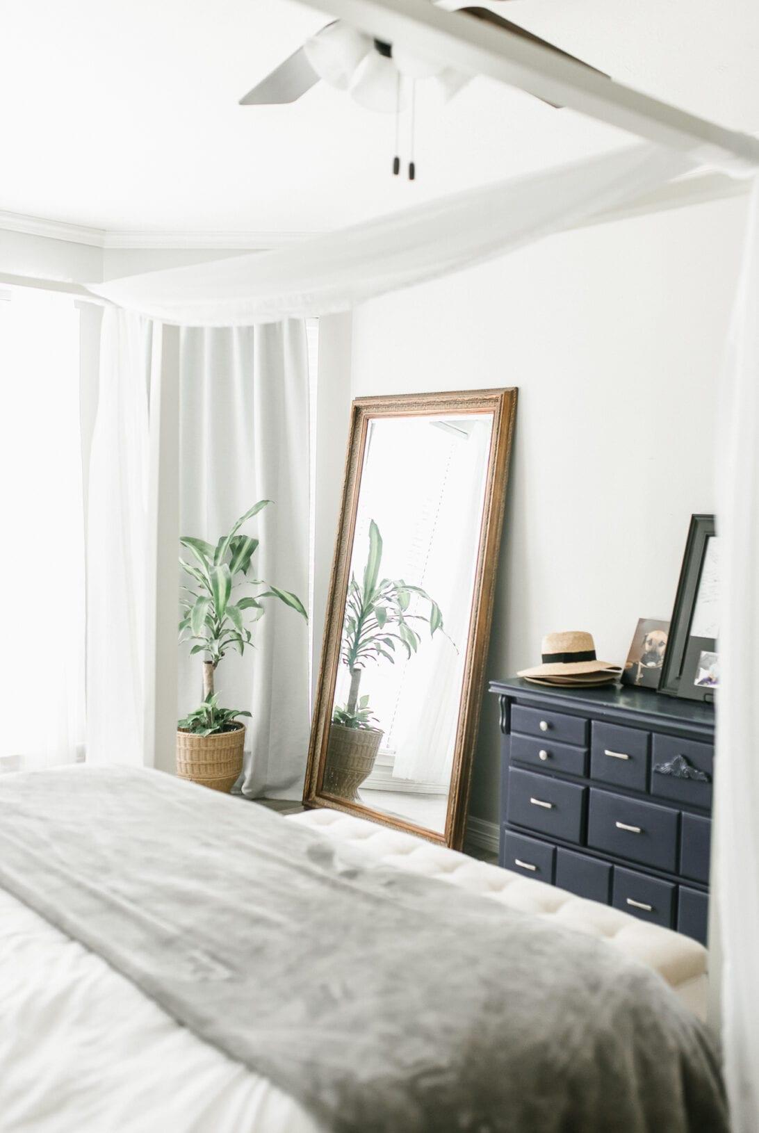 master bedroom, gold full length mirror