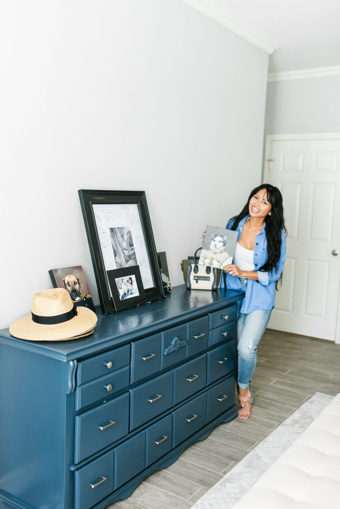 blue dresser, cat royal photos, crown and paw, master bedroom