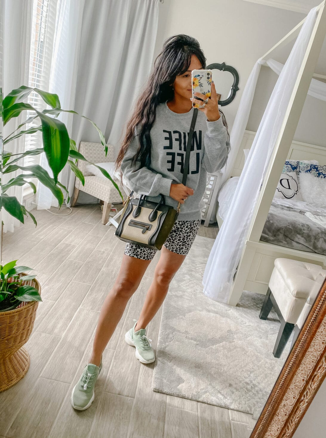 wife life sweatshirt, leopard biker shorts, Celine luggage nano bag