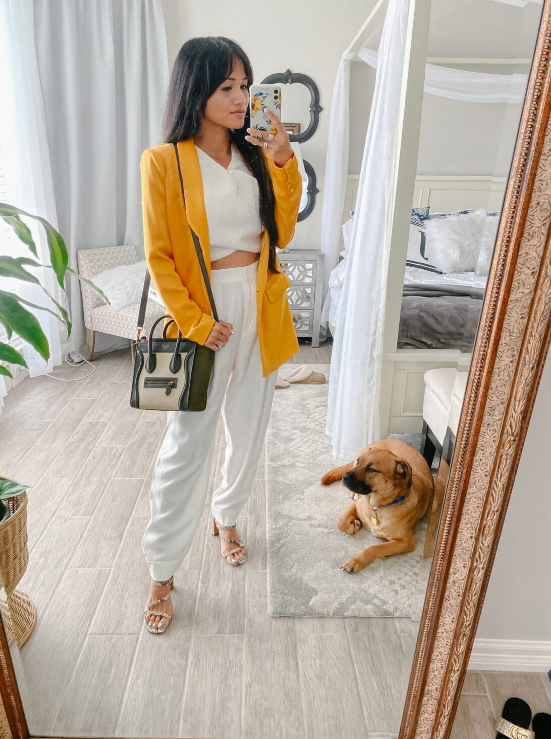 white pants, yellow blazer, Celine luggage Nano bag