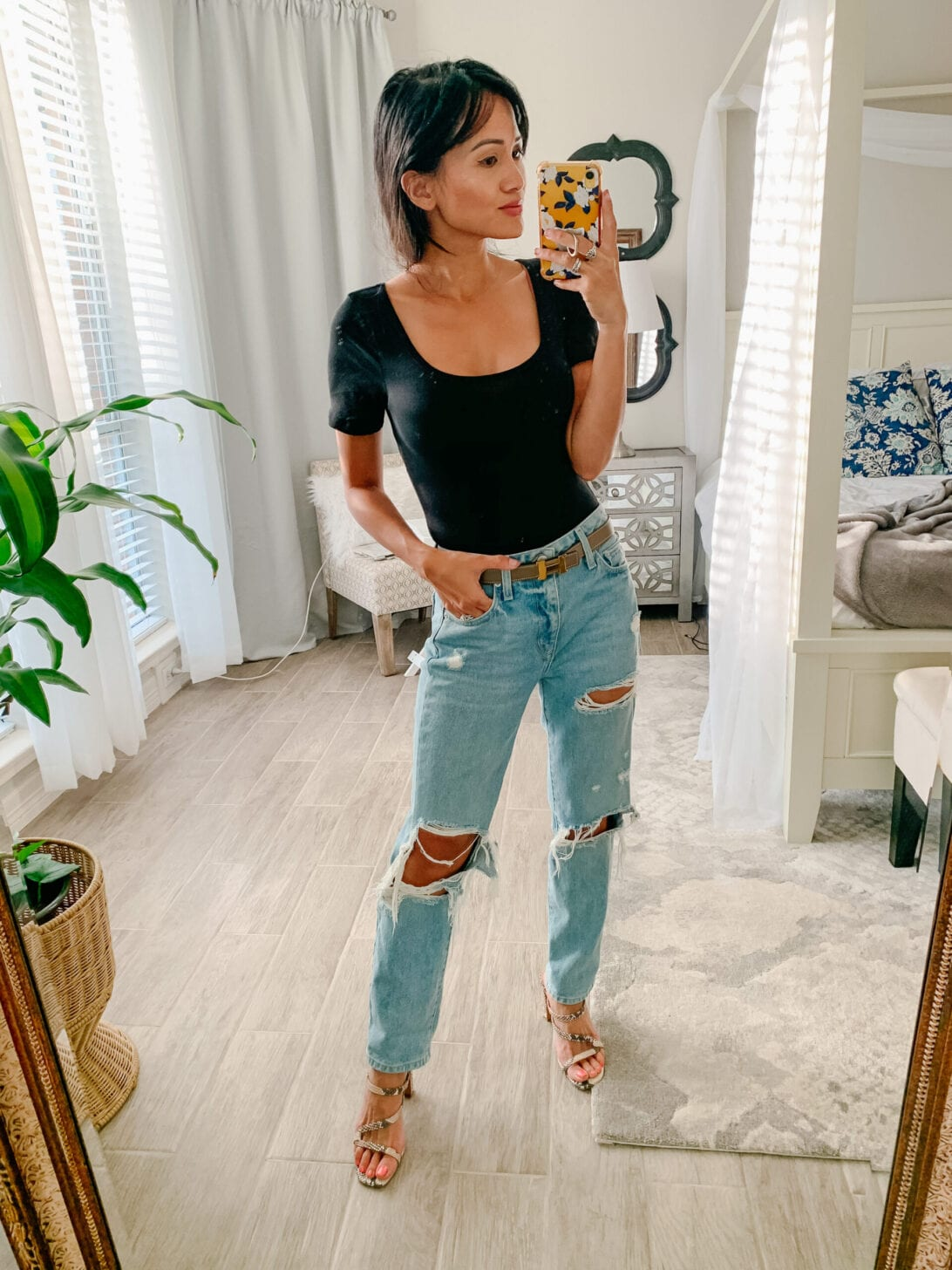 black bodysuit, snakeskin sandals, boyfriend jeans