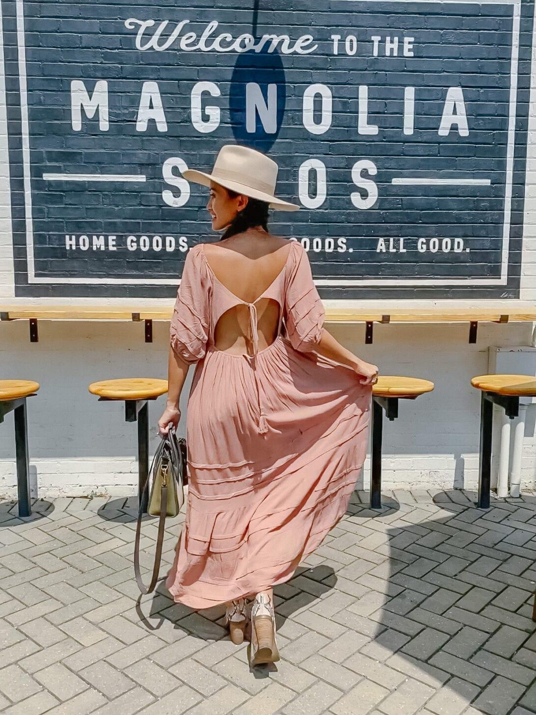 BLUSH DRESS, PINK MAXI DRESS, Joanna Gaines, MAGNOLIA SILOS