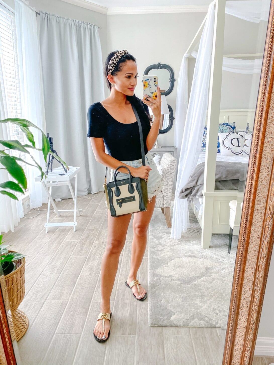 Celine crossbody bag review, Gucci sandals, black bodysuit