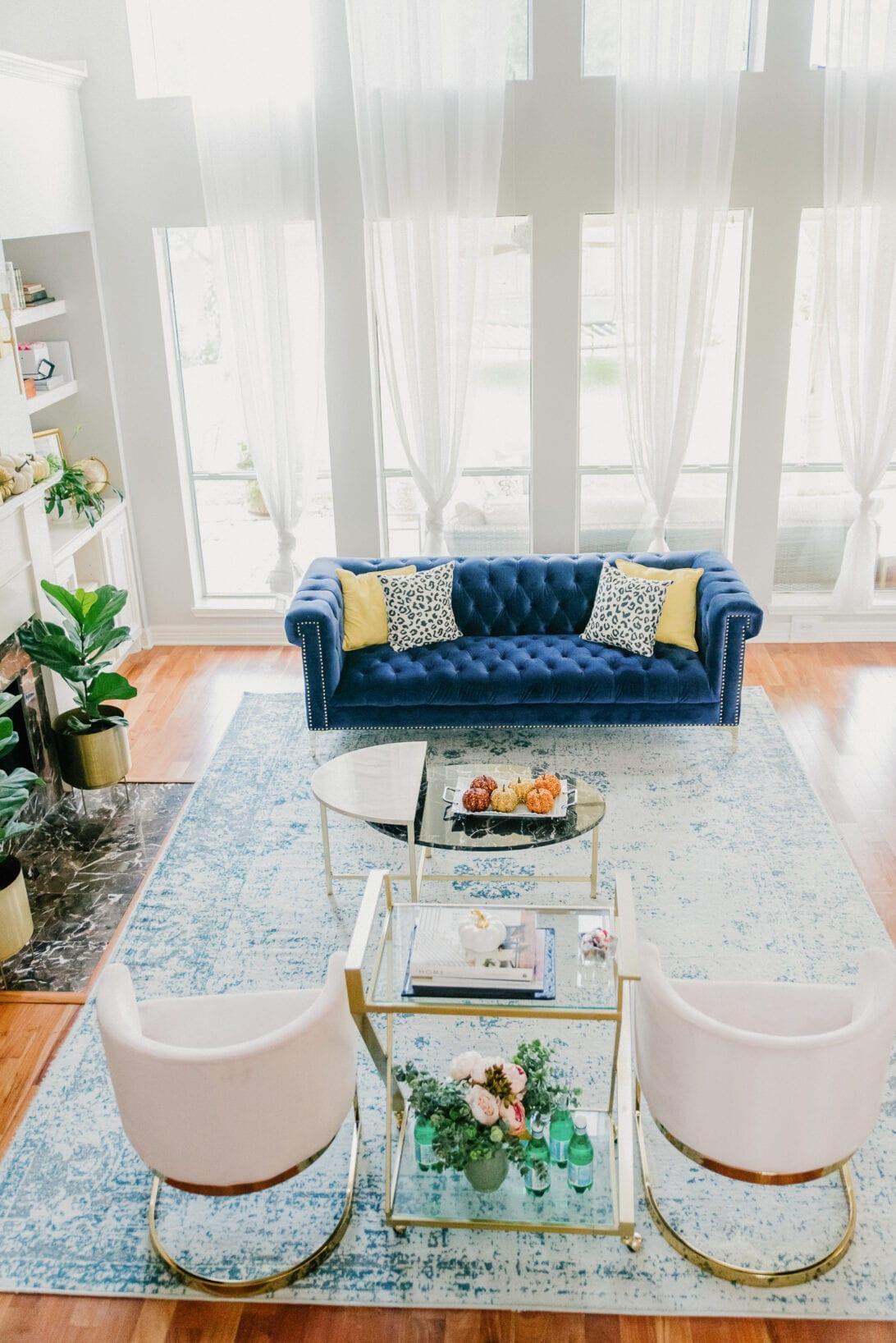living room decor, glam living room decor