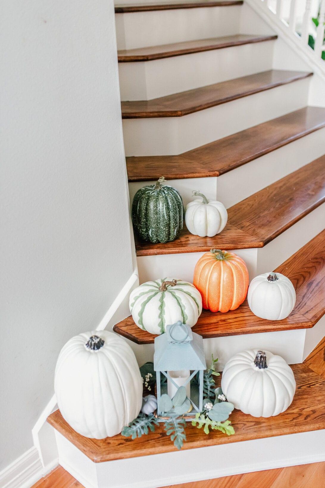 fall decor, fall stairway, faux pumpkins