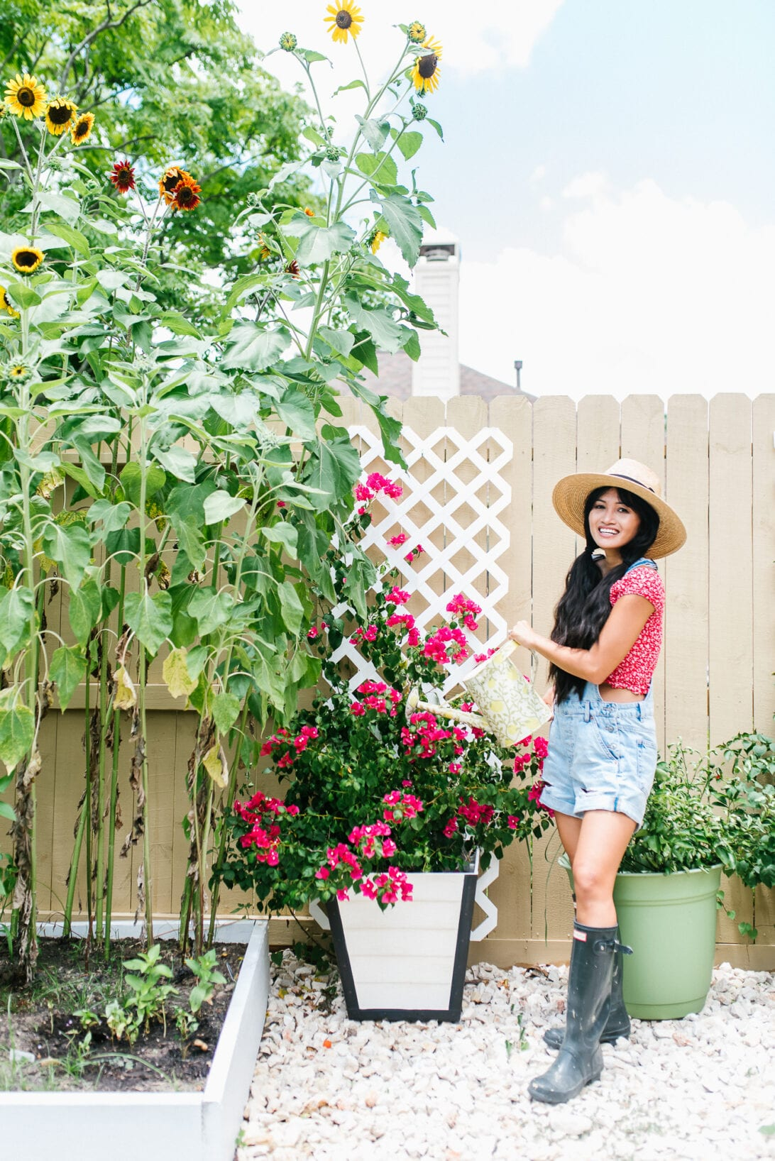 sunflower garden, hunter boot