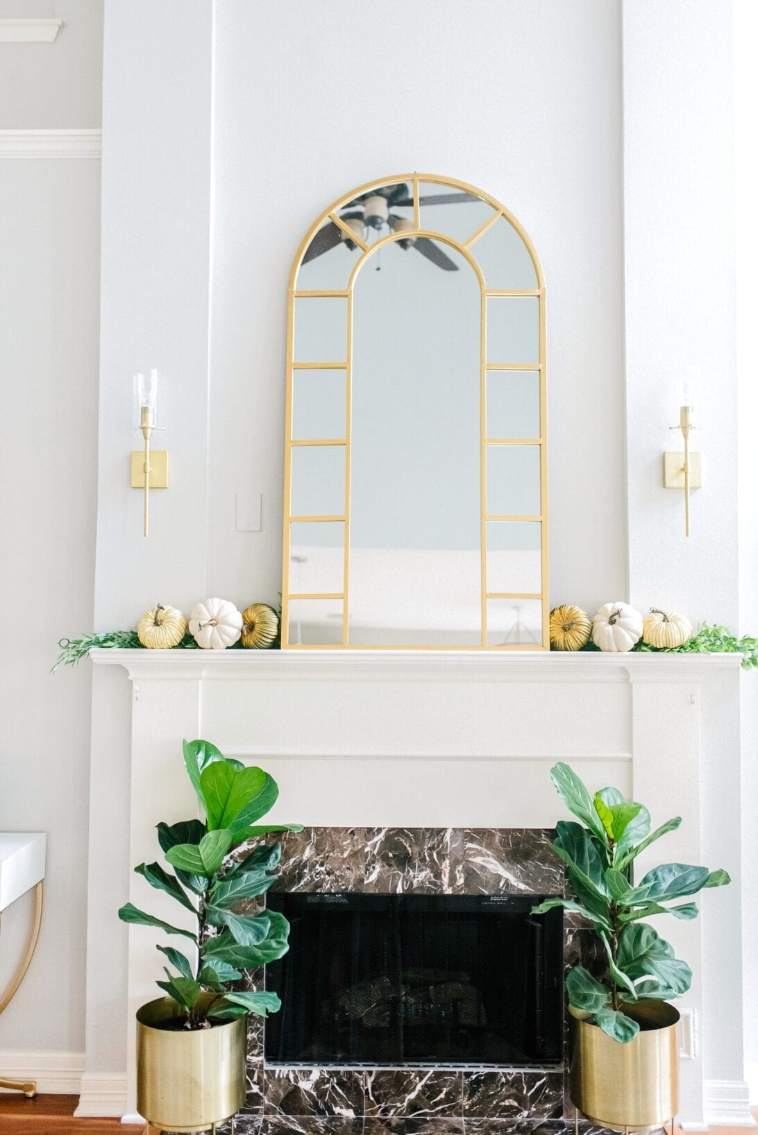 fireplace mantle fall decor, fall fireplace, fig trees