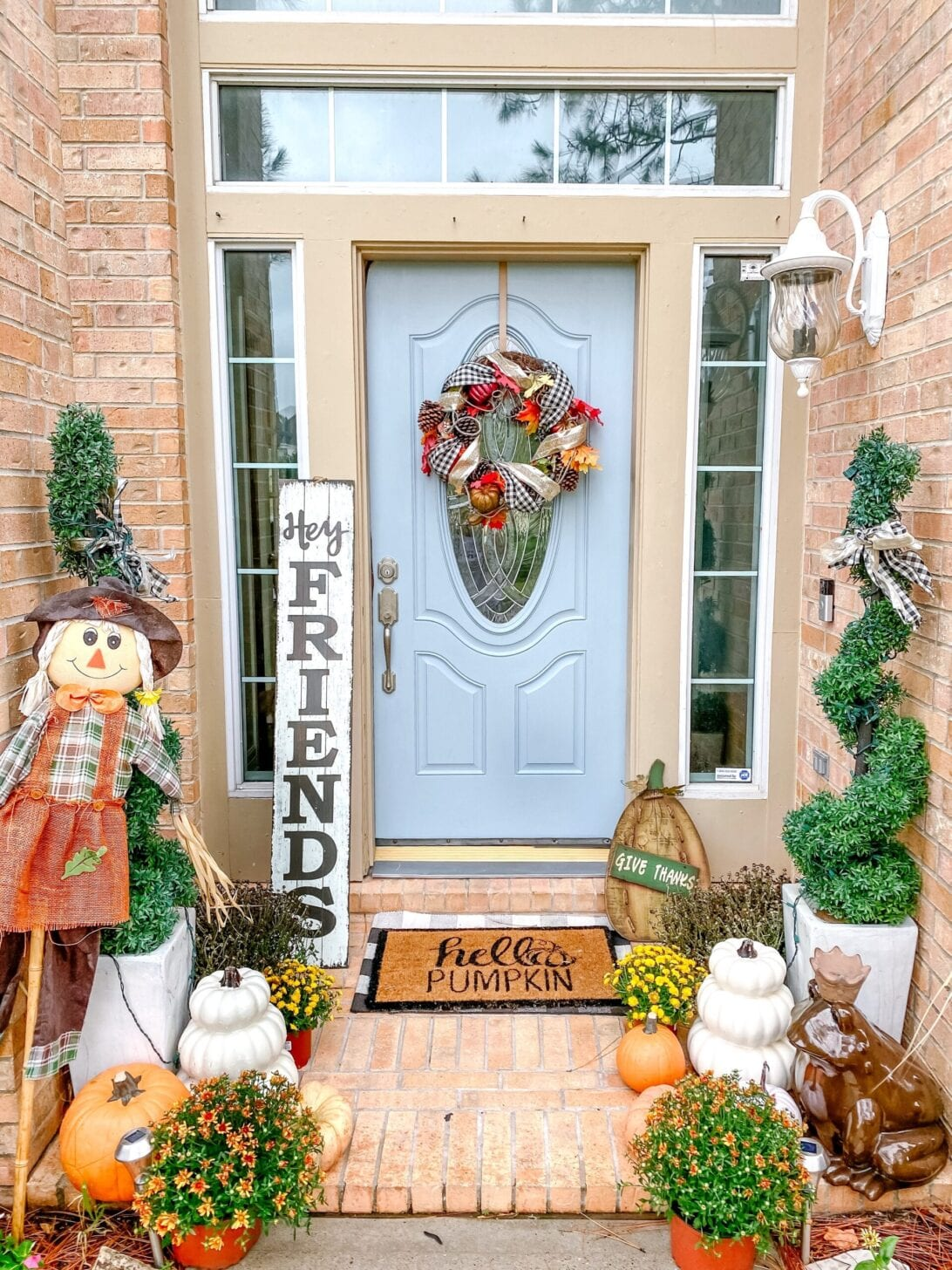 2020 fall home decor , hello pumpkin door mat, fall front porch decor, blue door