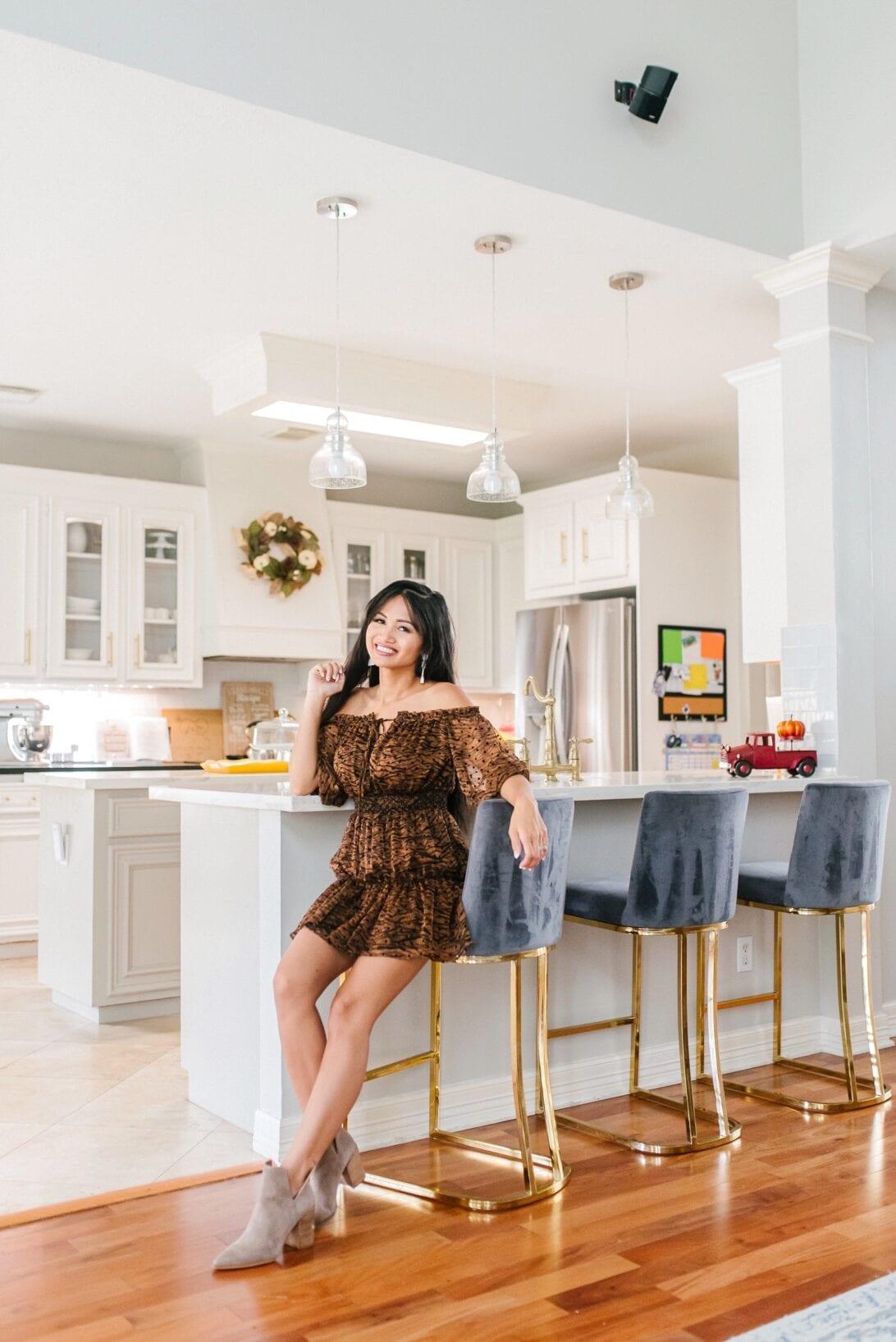2020 fall home decor, fall home decor, gold bar stools, white kitchen, fall kitchen decor