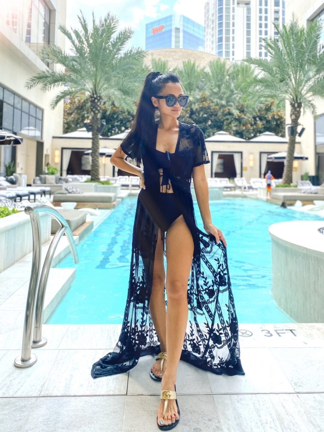 black lace swim cover up, Gucci sandals