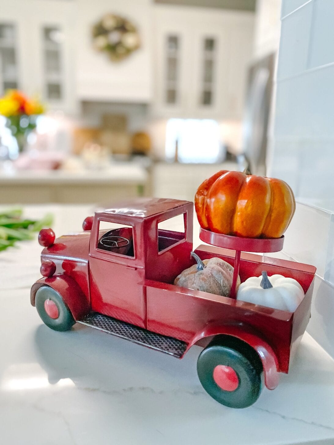 red truck, red fall truck, fall home decor