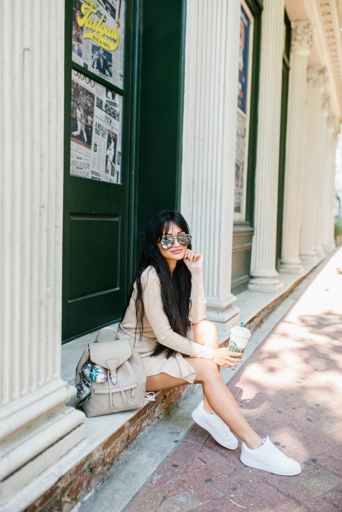 LOUIS VUITTON MONTSOURIS BACKPACK, air force ones, white nike sneakers, DSW, dress and sneaker outfit, aviator sunglasses