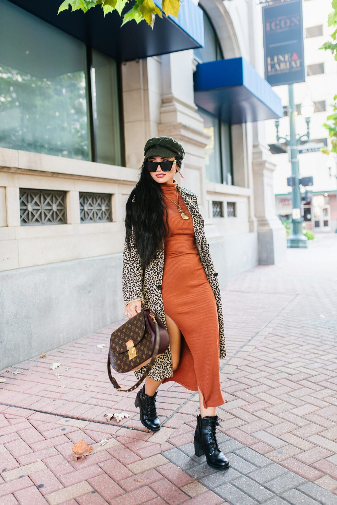 ribbed sweater dress, ribbed turtleneck dress, combat boots, fall dress, fall style, fall outfit, fall fashion