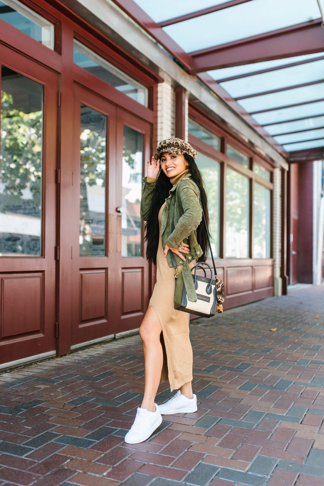 Celine luggage nano bag, fall outfit, FALL sweater dress