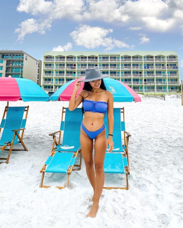 blue bikini, fedora, Best Western, beach front hotel