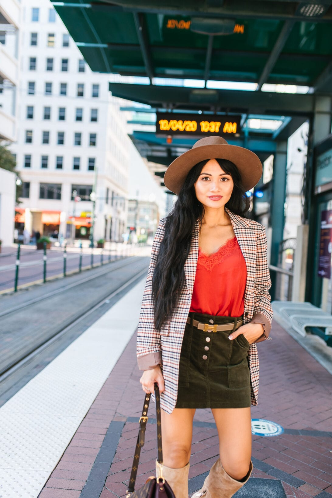 corduroy mini skirt, lace cami, fall blazer, fedora, reversible hermes belt