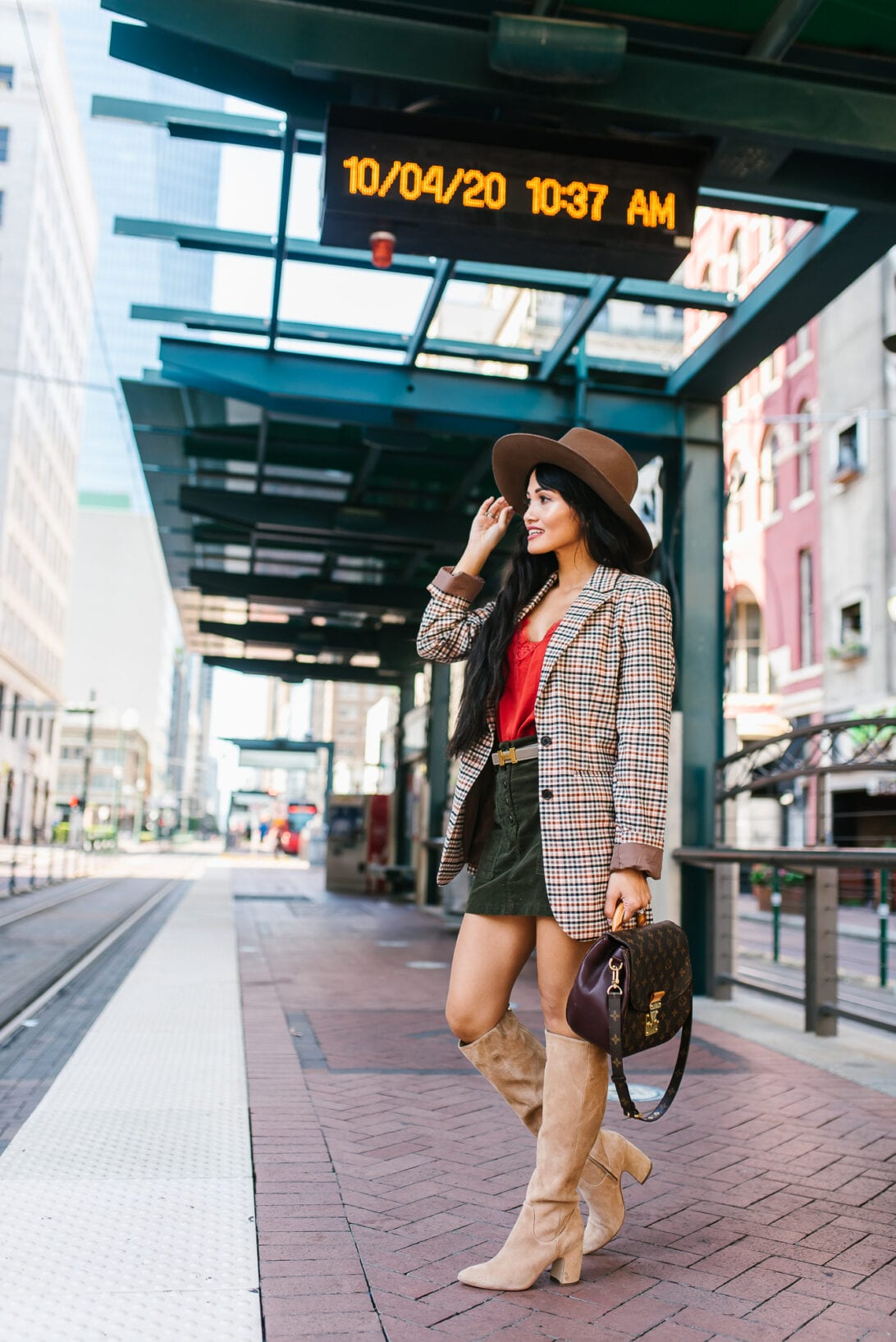 fall blazer, $30 fall blazer, knee high suede boots, LV shoulder bag