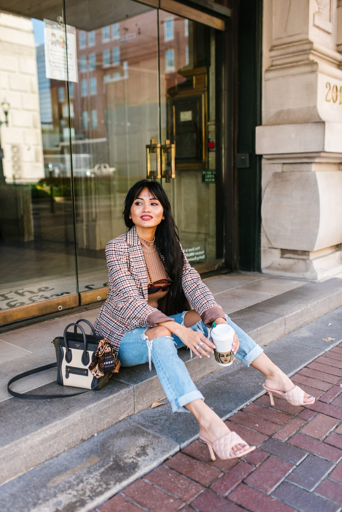 fall plaid blazer, boyfriend jeans, Celine nano luggage bag