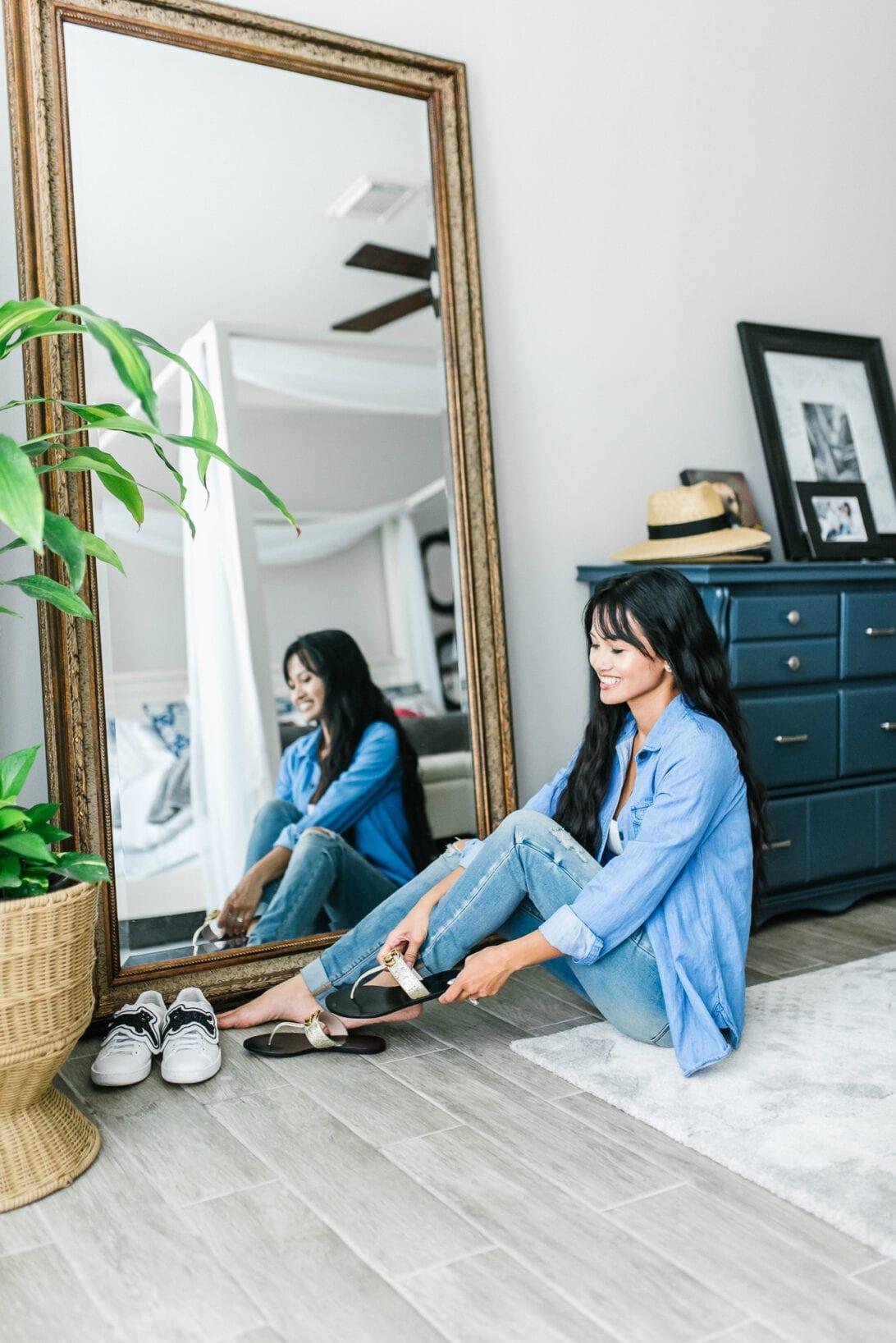 master bedroom, full length mirror, Gucci sandals