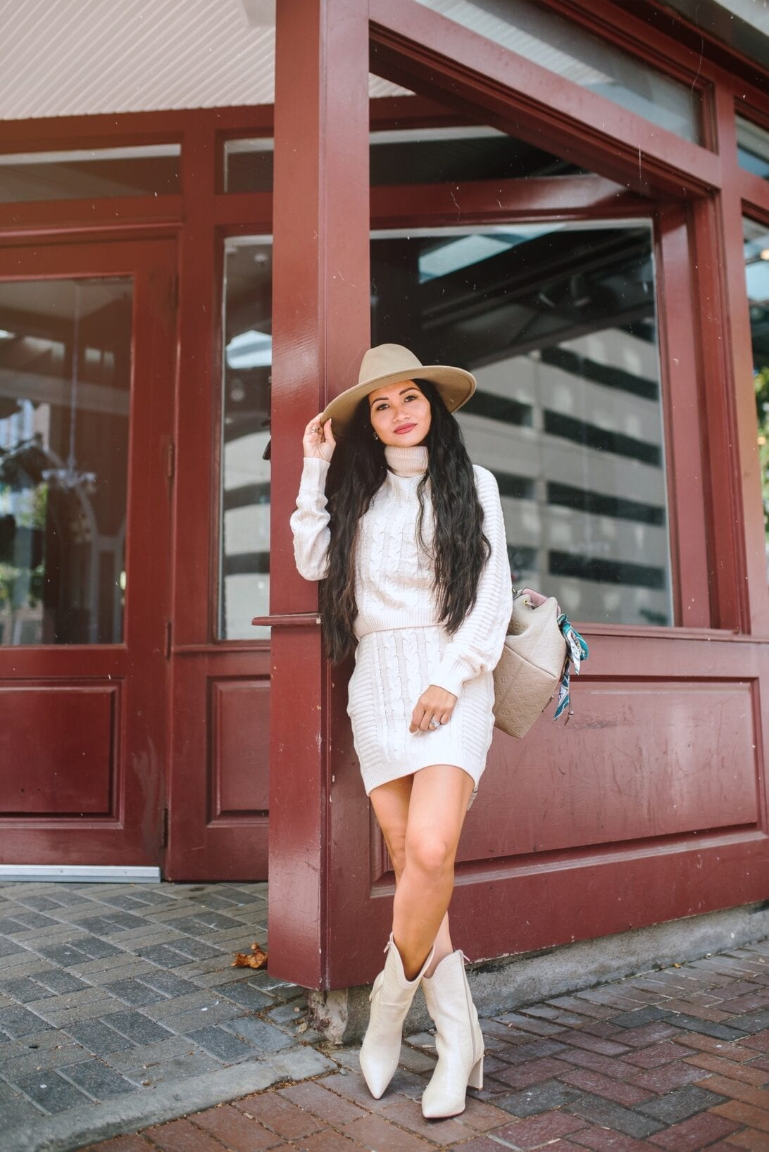 sweater dress set, white cowgirl boots, sweater skirt, Thanksgiving outfit ideas under $100