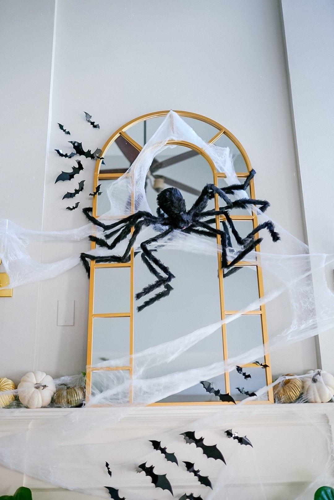 Halloween cobwebs fireplace mirror, halloween home decoration