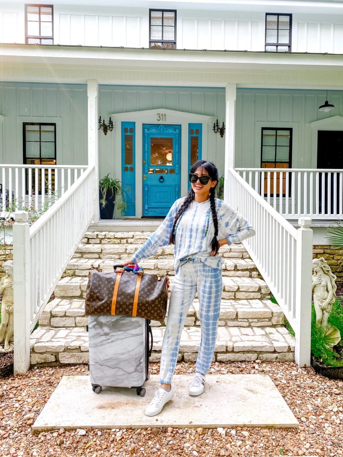 tie dye jogger set, travel style, Calpak luggage, Louis Vuitton carryall