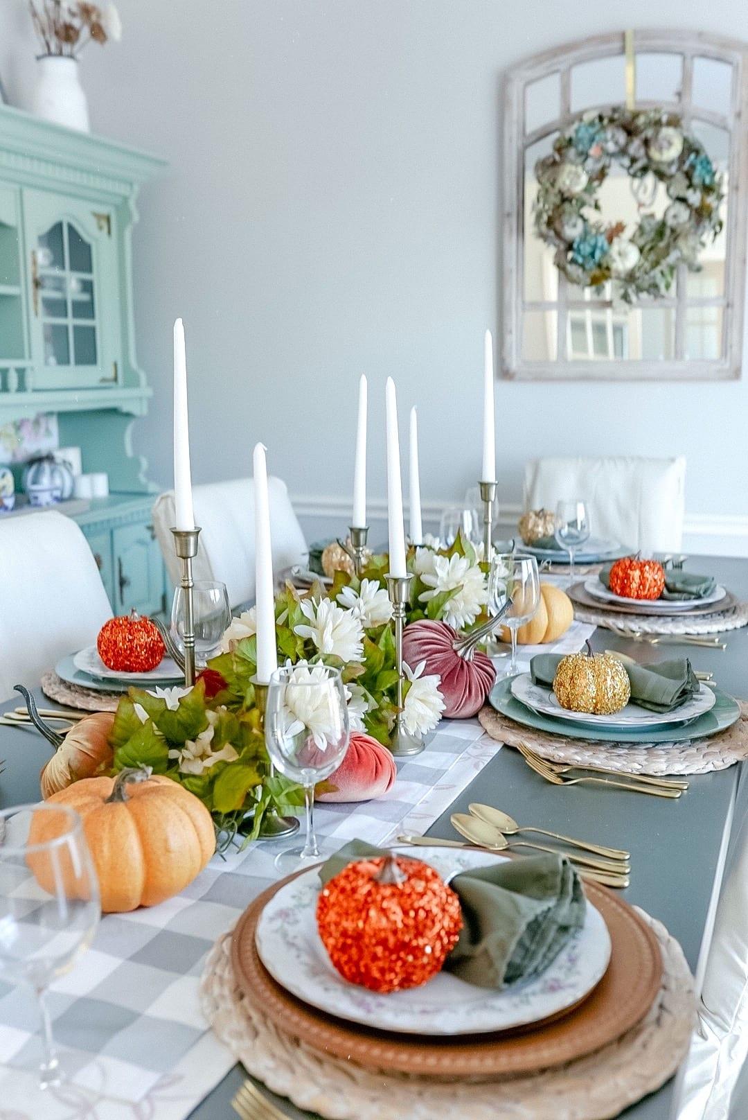 2020 Thanksgiving tablescape, candle sticks, table decor