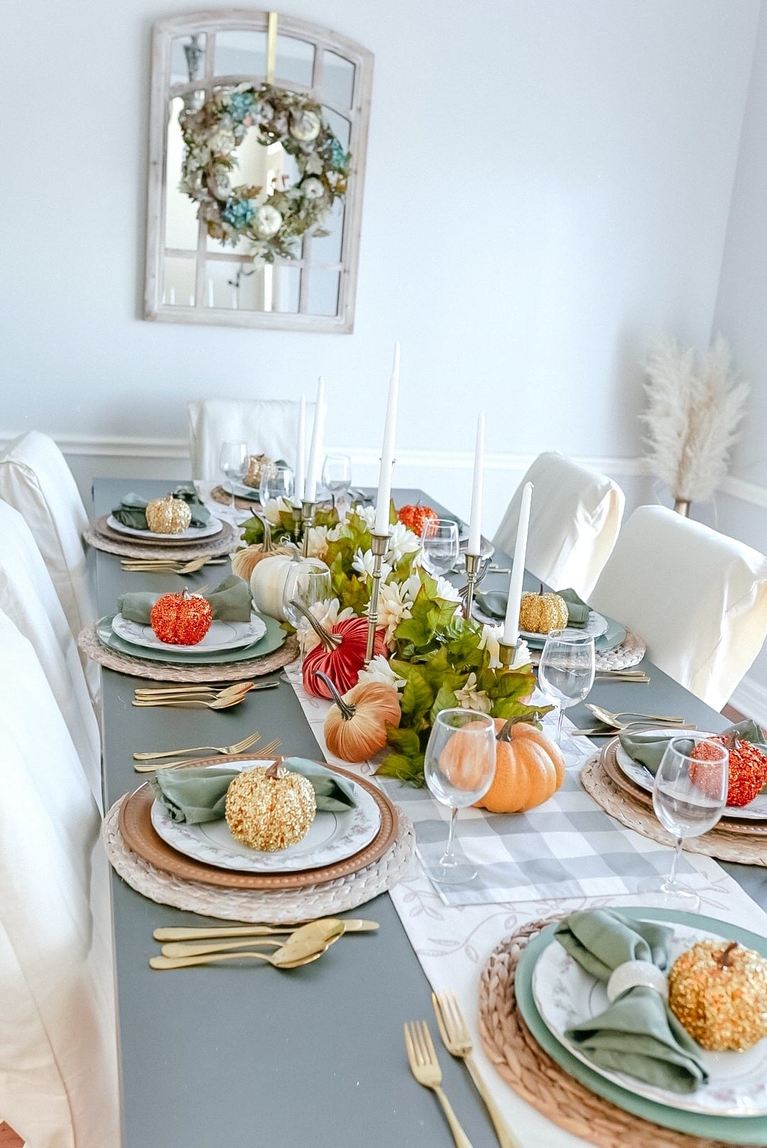 2020 Thanksgiving tablescape, Fall decor, fall dining room decor, thanksgiving dining room decor