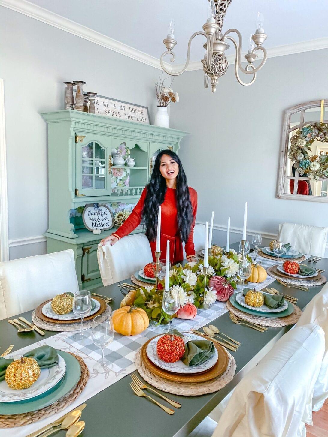2020 Thanksgiving tablescape, Thanksgiving table, Thanksgiving decor, gold silverware
