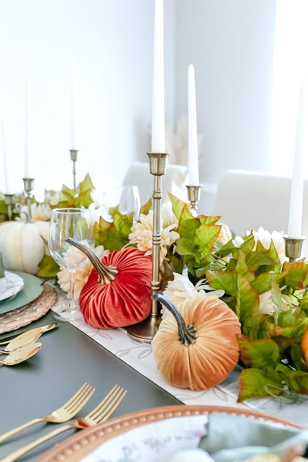 gold candle sticks, velvet pumpkins, etsy, dining room table decor