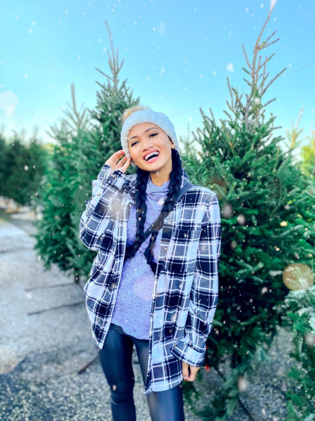 winter styles under $25, shacked, plaid shirt, white pom beanie