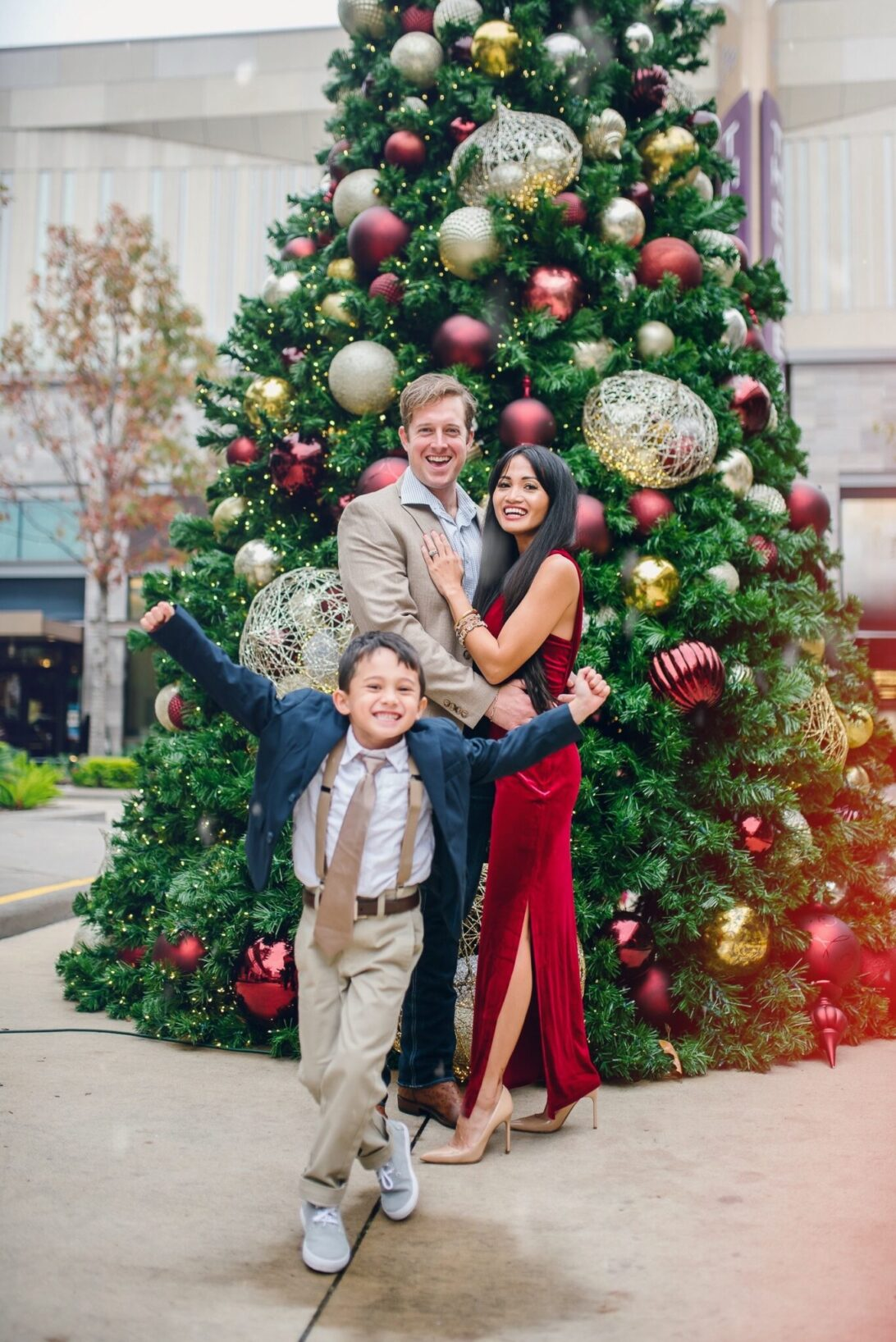 Christmas family photos, red velvet dress, Merry Christmas