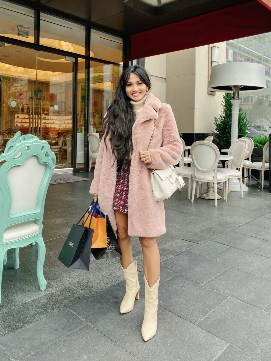 Bouchée Patisserie , pink coat, Prada bag, white boots, tweed skirt, post Oak Hotel, Houston, TX