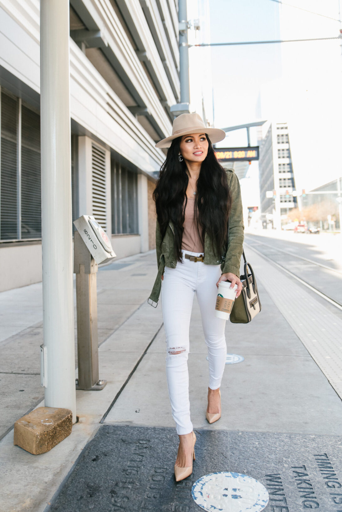 transitional pieces, white skinny jeans, nude shoes