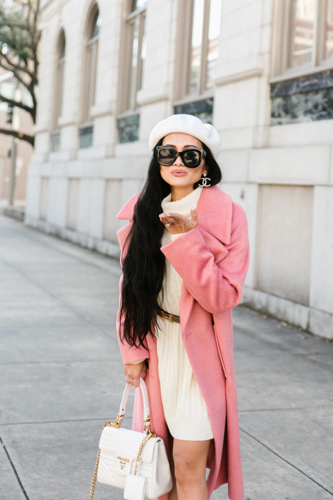 WINTER OUTFIT, VALENTINES OUTFIT, PRADA BAG, BERET