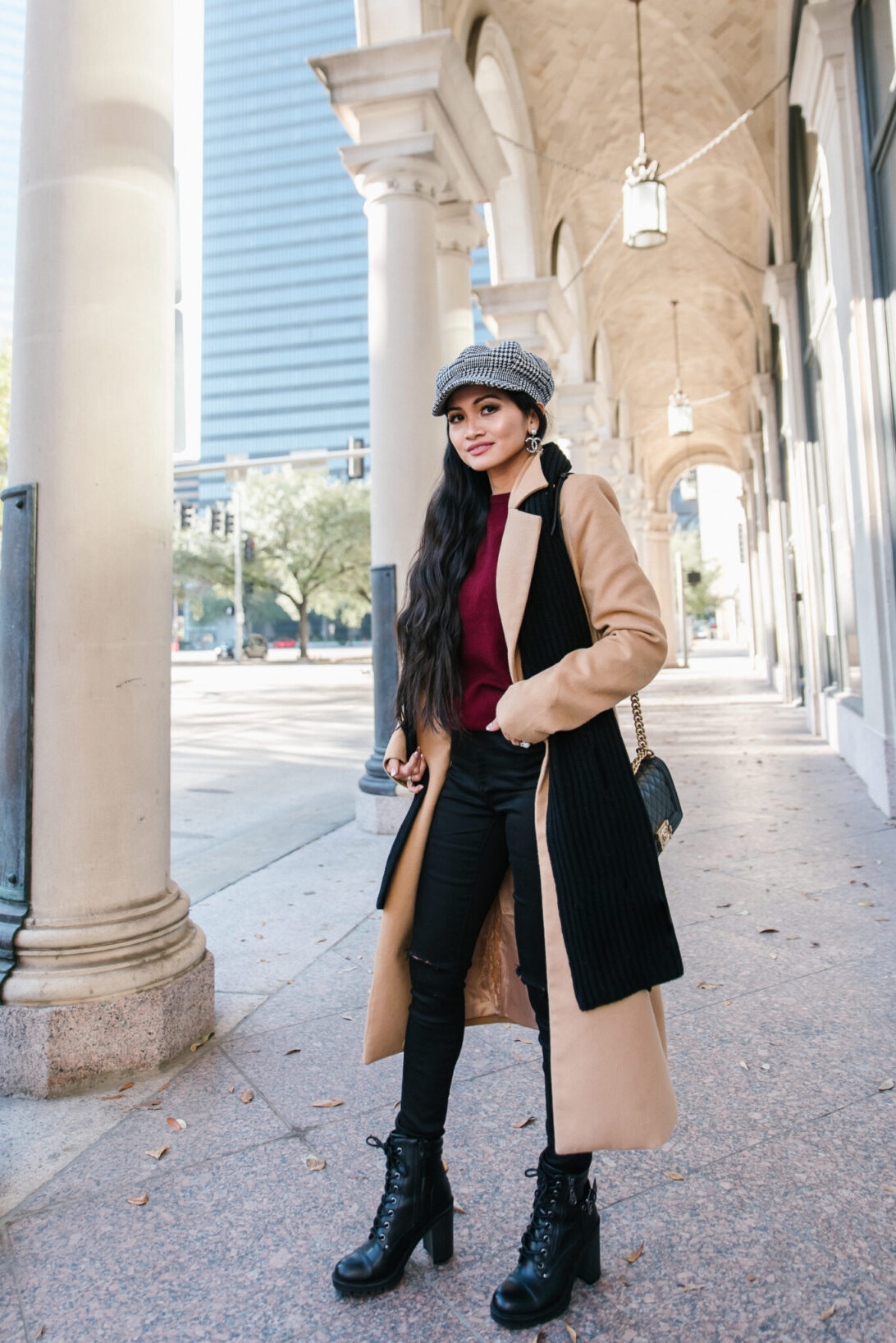 winter outfit, camel coat, winter basics essentials
