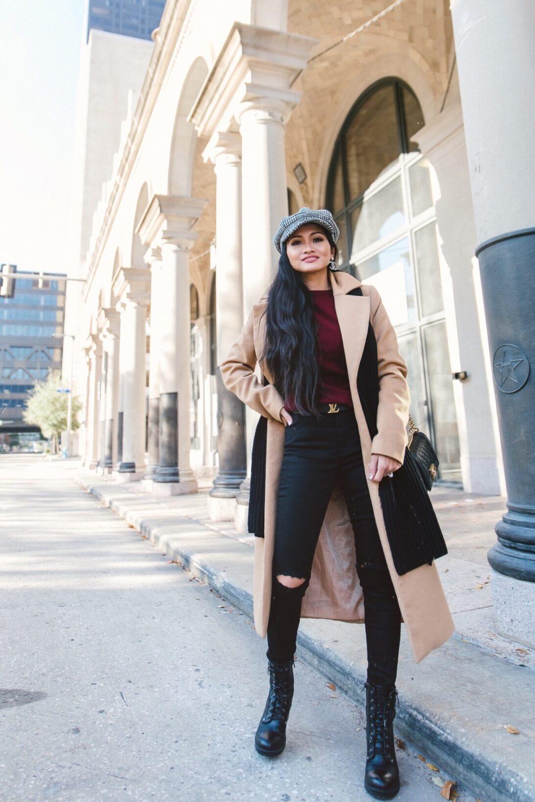 camel coat, black combat boots, Louis Vuitton boots