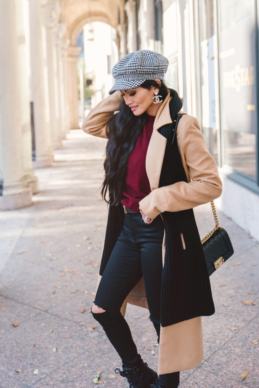 newsboy cap, Chanel CC earrings, black cashmere scarf, winter basics essentials