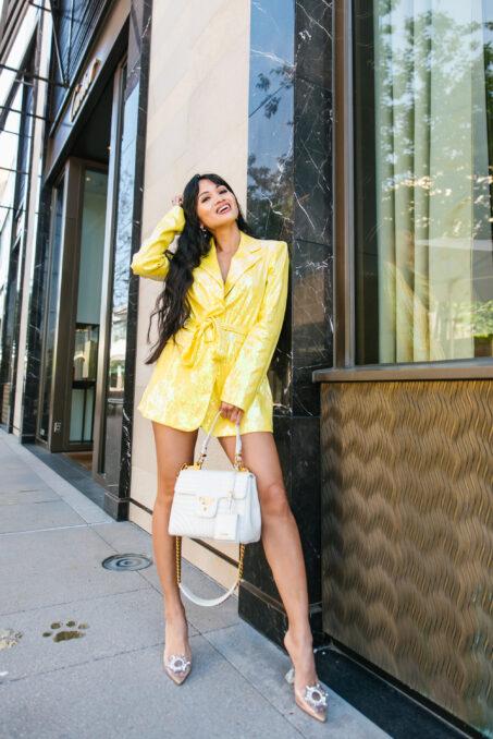 yellow sequin blazer, blazer dress, sequin blazer
