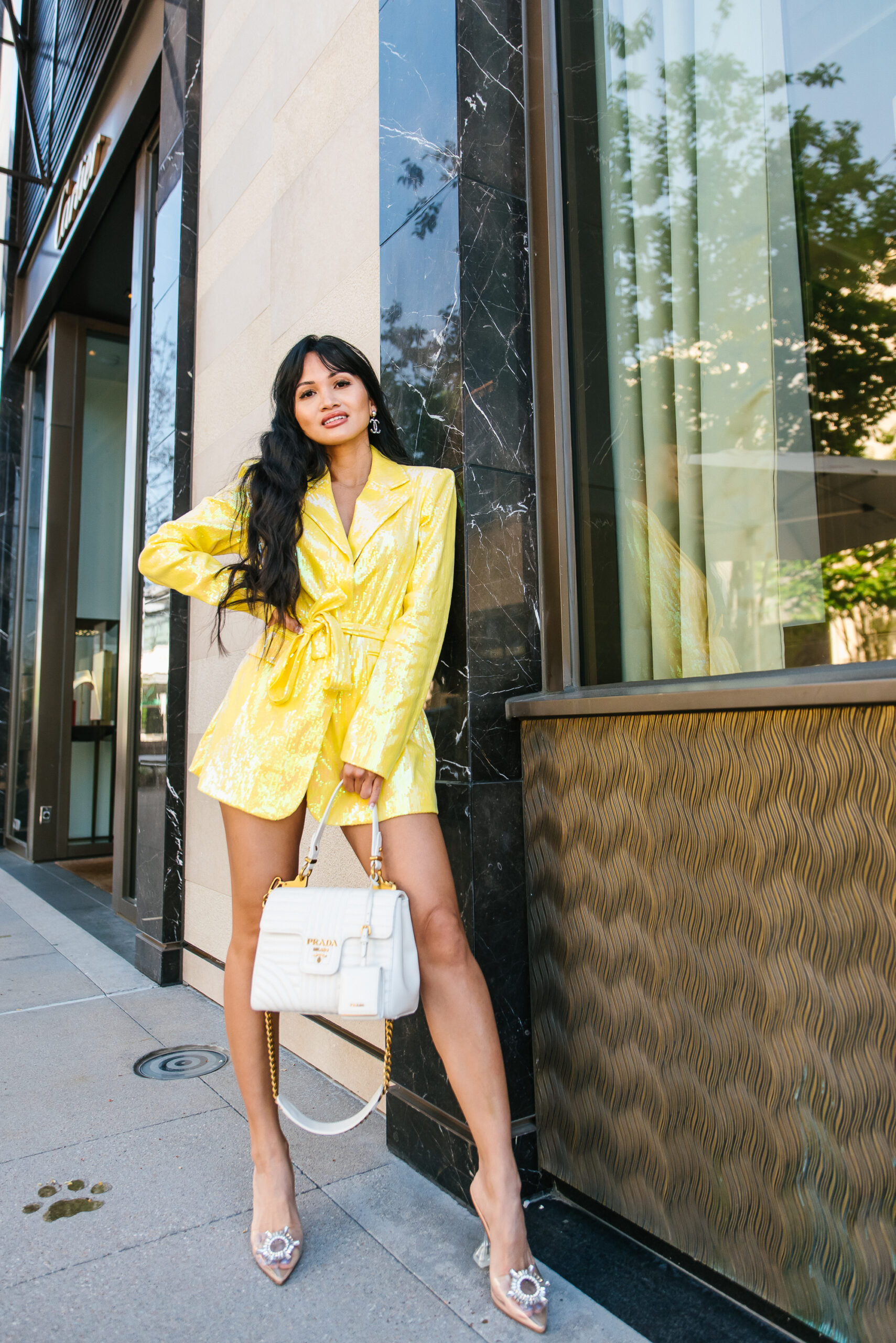 clear jeweled heels, yellow dress, birthday outfit, Prada bag