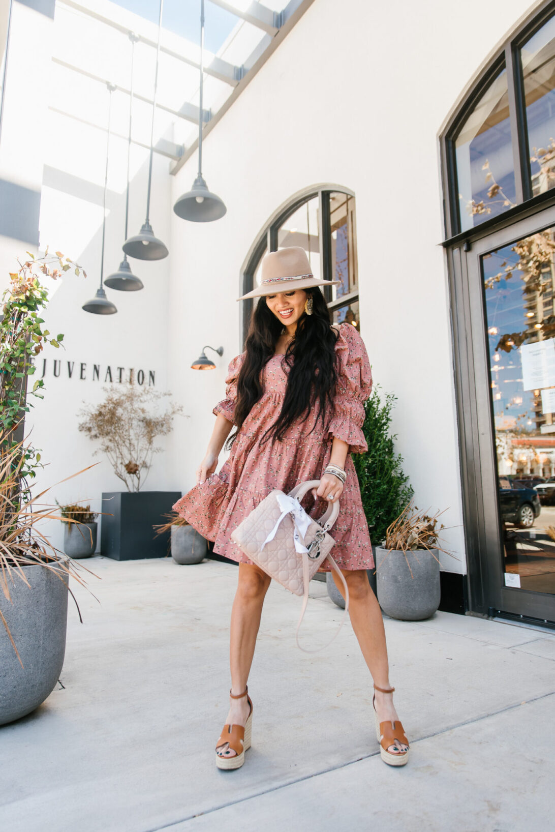 Spring Style Event Sale, puffy sleeves, country dress, floral dress, Lady Dior pink bag