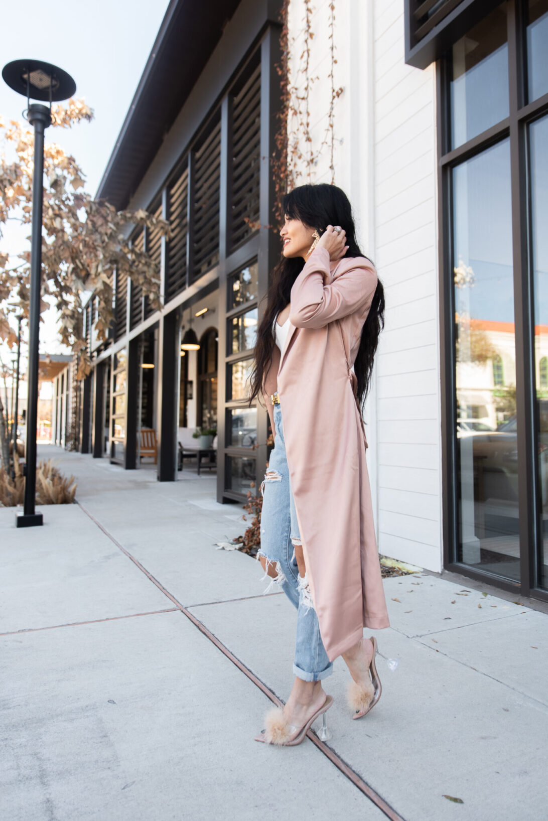 satin duster, satin cardigan, clear heels