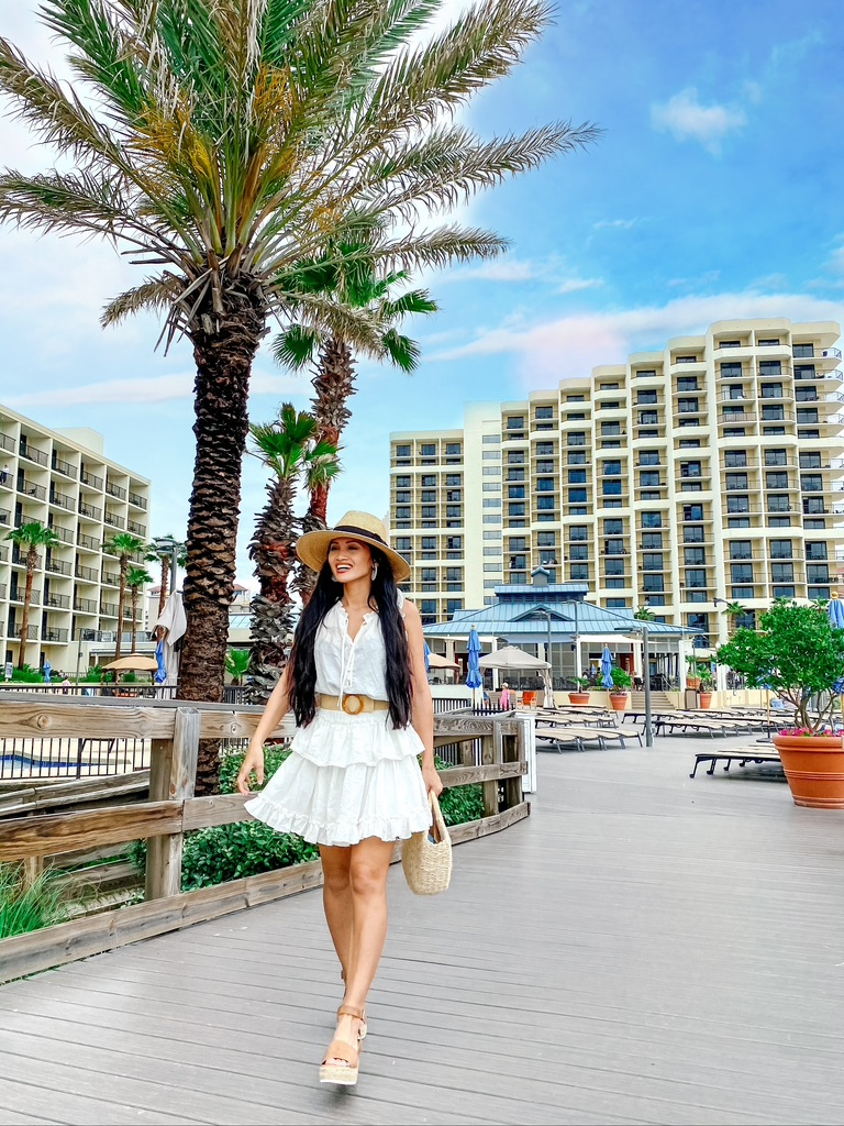 white dress, Hilton Sandestin, vacation style