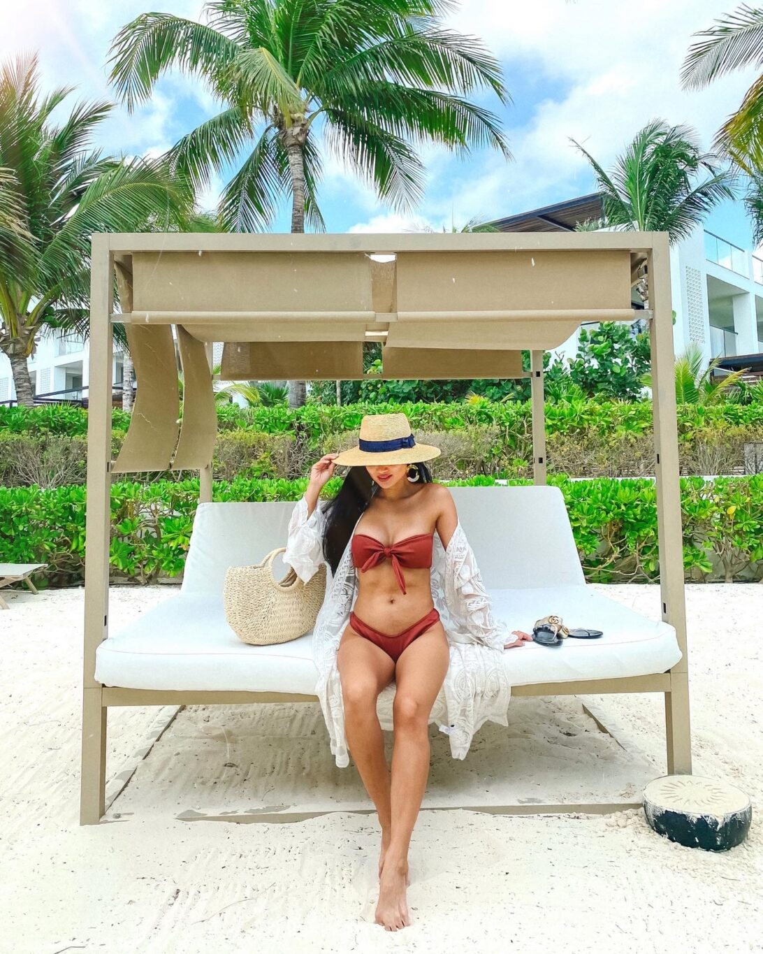tie front bikini, exclusive club, beach beds, Playa Mujeres, All inclusive resorts, Mexico