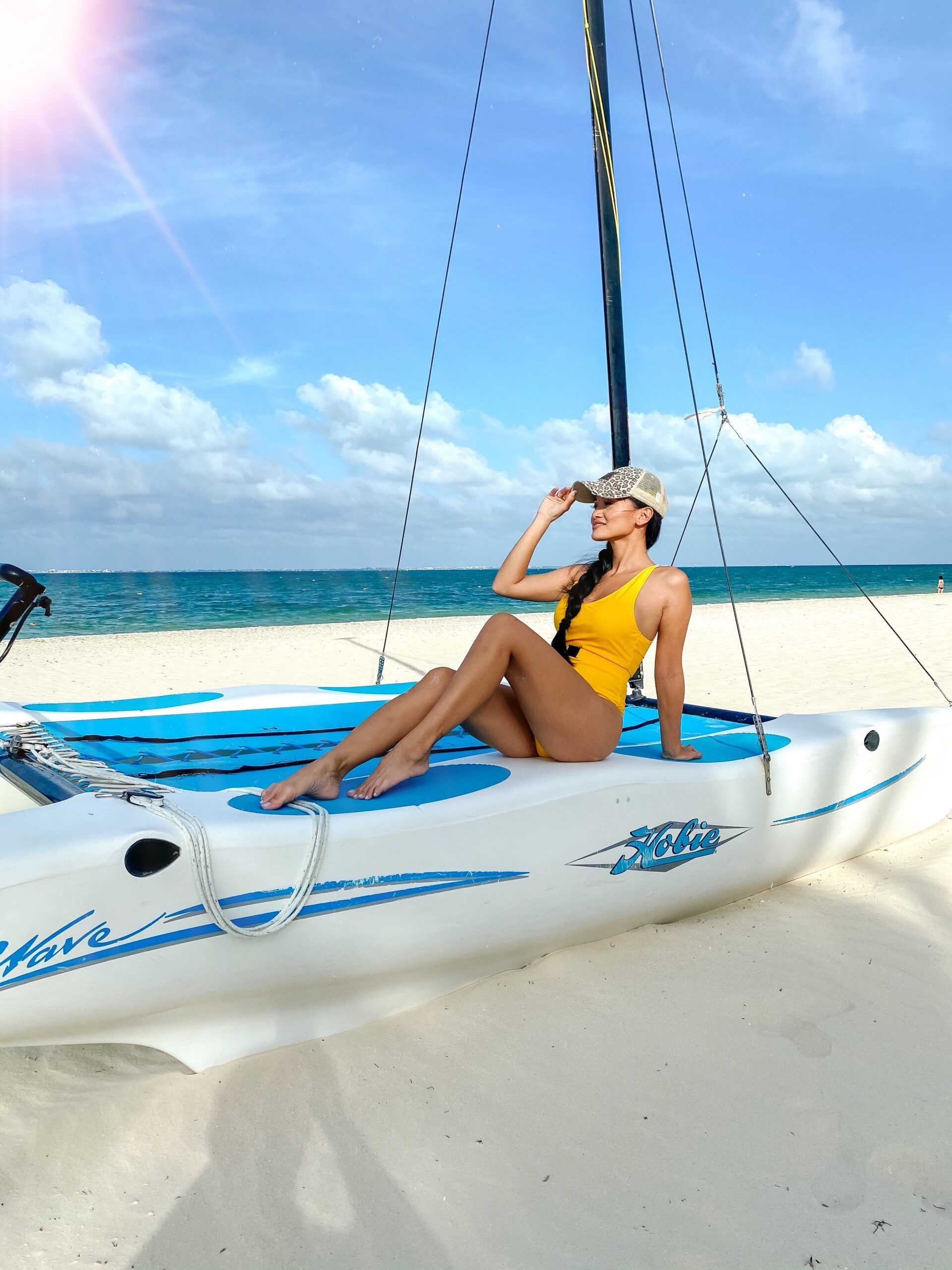 YELLOW SWIMSUIT, AMAZON FIND, SAILING, VACATION WATER SPORTS