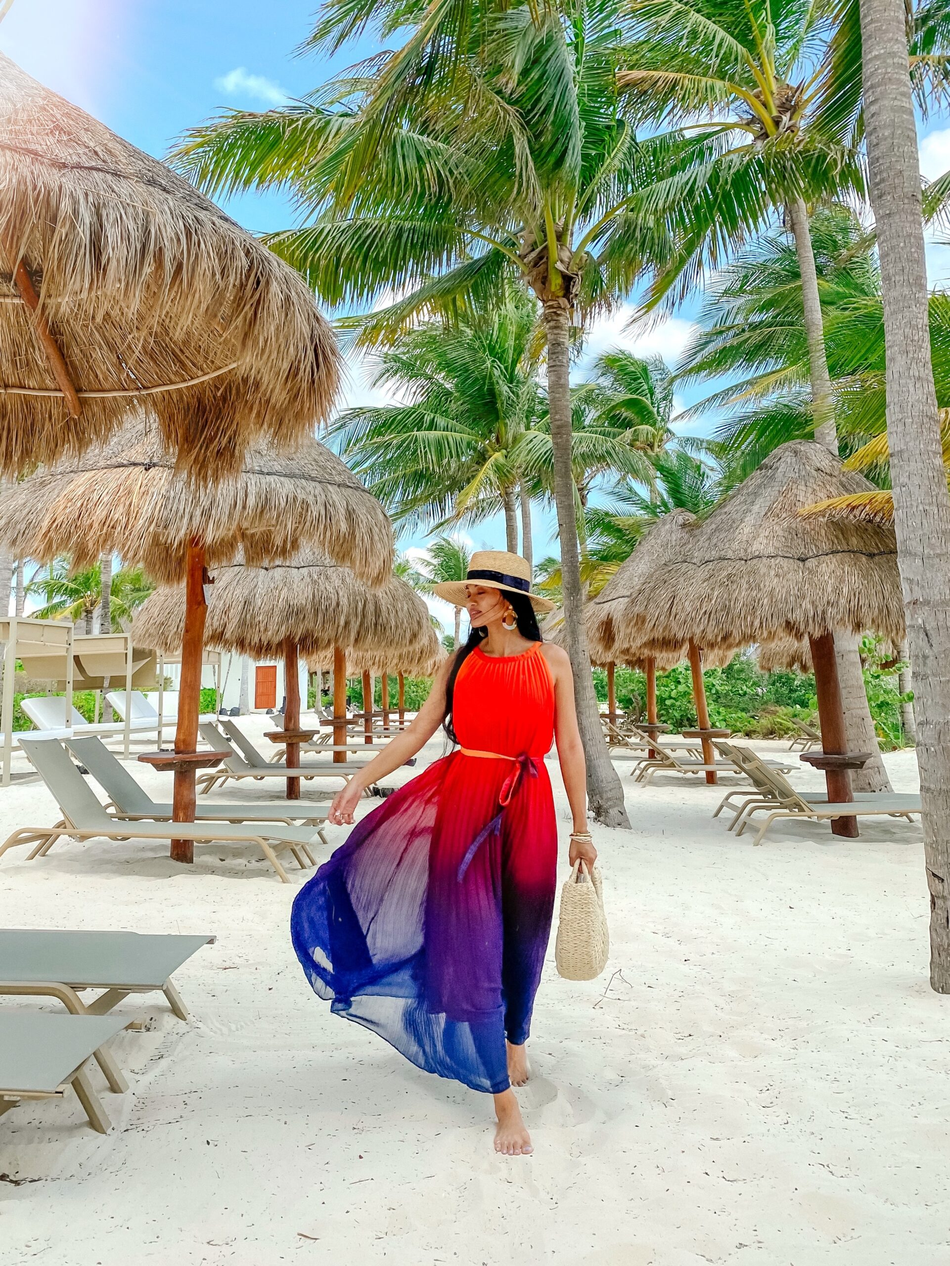 TRAVEL AFTER COVID, MEXICO, COVID RESTRICTIONS, OMBRE MAXI DRESS, VACATION STYLE