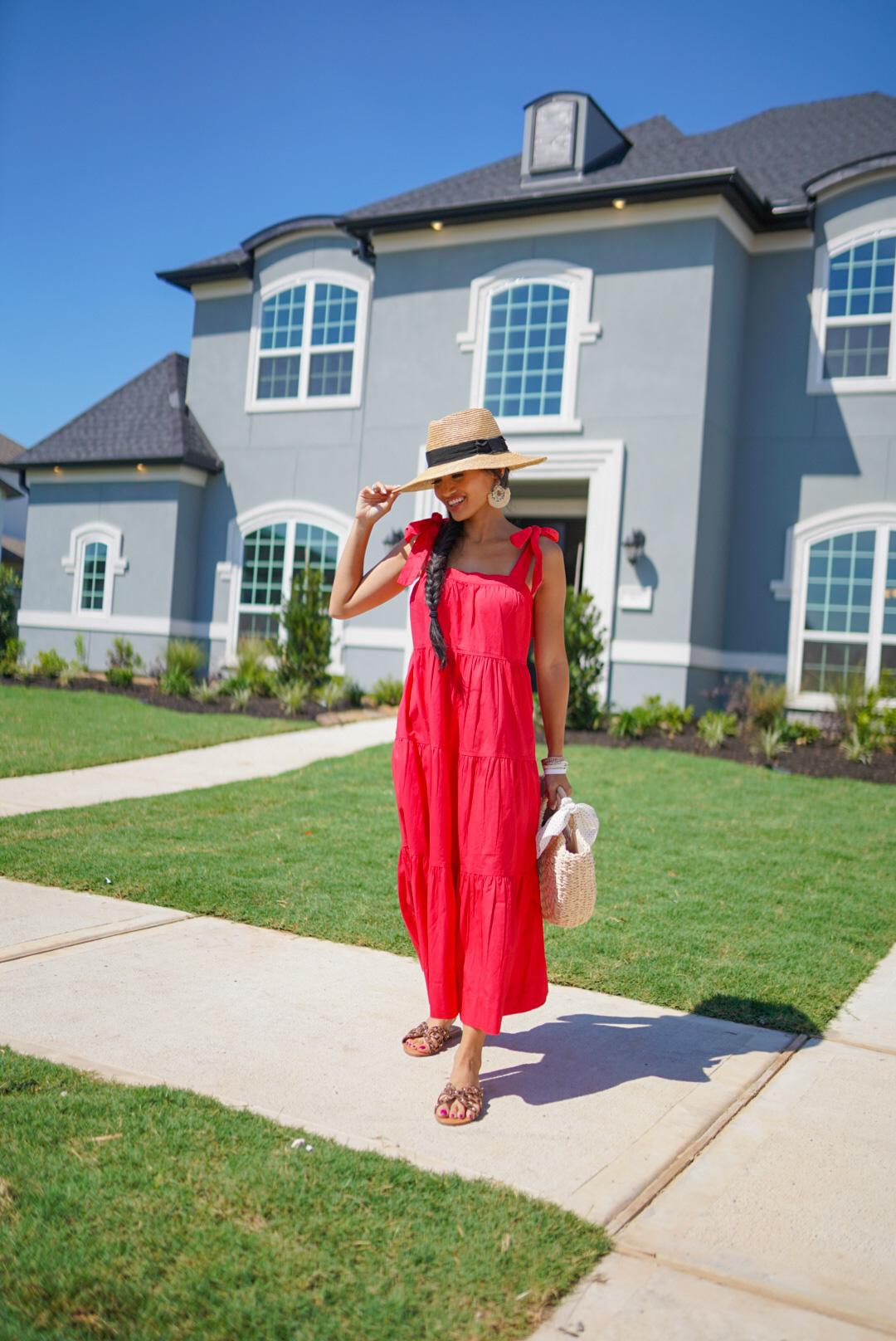 red dress, summer maxi dress