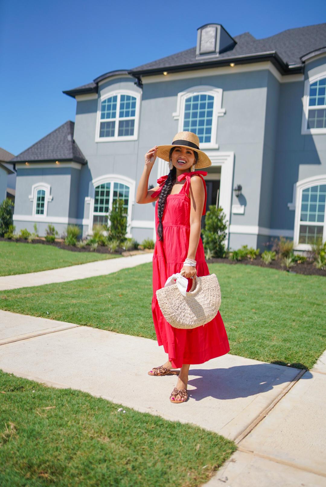 red dress, Walmart fashion, free assembly, summer dresses
